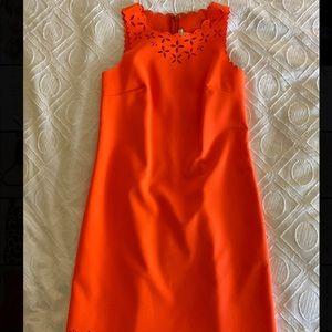 J.Crew orange cut out dress.